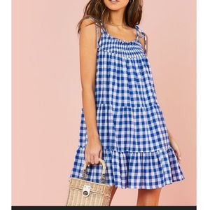 Shein knot strap blue gingham smock dress
